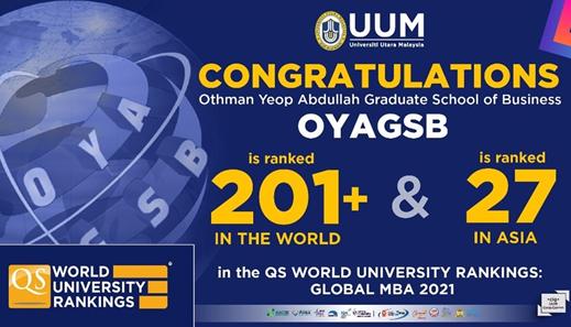 马来西亚北方大学在全球MBA排名中排名201+位