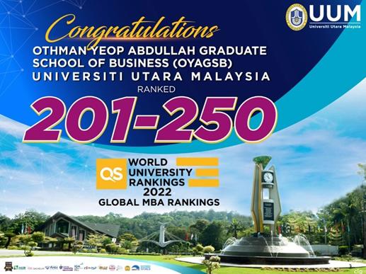 马来西亚北方大学在全球MBA排名中排名201-250
